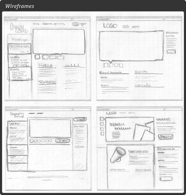 freehand drawn wireframes