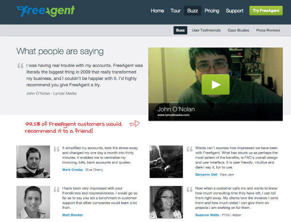 freeagent testimomials page