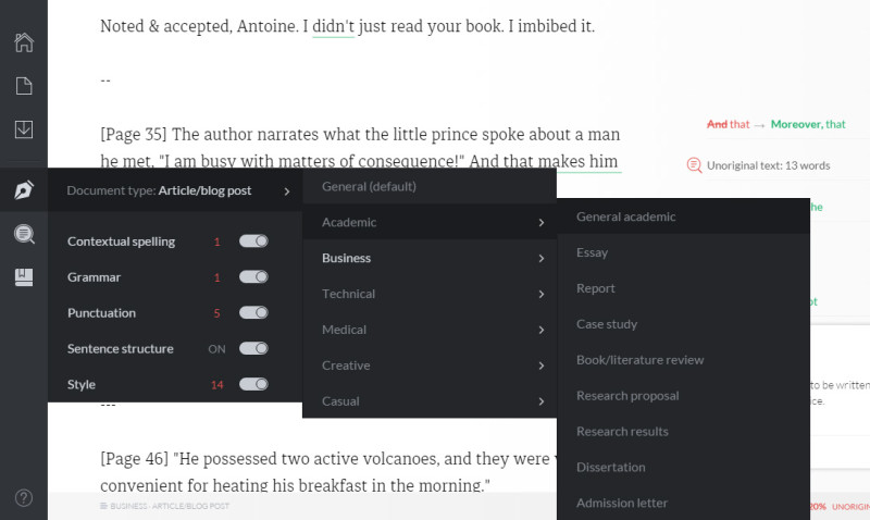 grammarly for different document and writing styles
