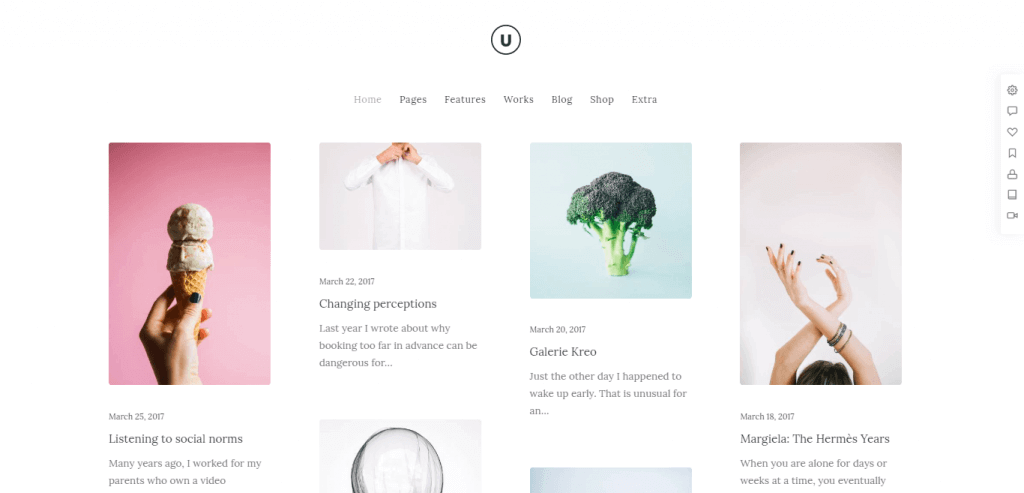 uncode best minimal card layout wordpress themes for bloggers